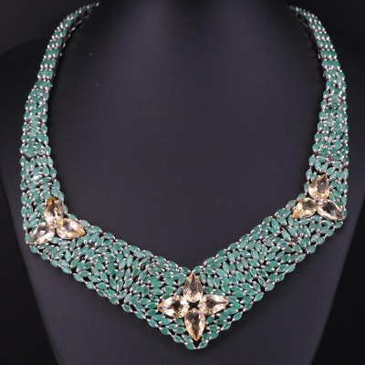 Sterling Silver Emerald and Citrine Bib Necklace