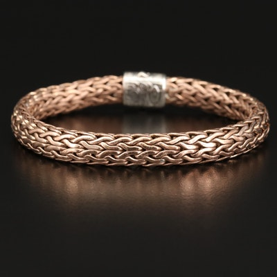 "John Hardy ""Classic Chain"" Sterling Silver and Bronze Diamond Bracelet"
