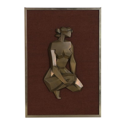 Giovanni Schoeman Base Metal Relief of Cubist Figure, Mid-20th Century