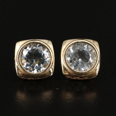 14K Aquamarine Square Stud Earrings