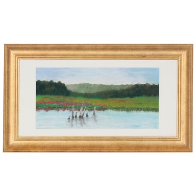 Marcus Brewer Pastel Drawing of Rural Pond Landscape