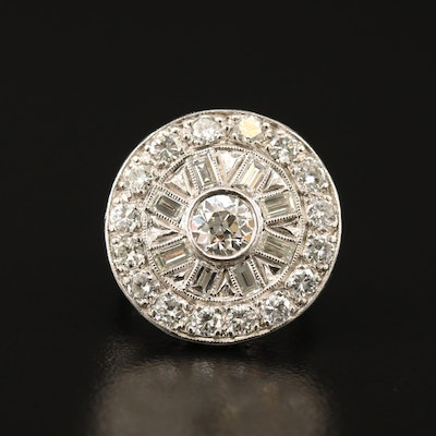 Vintage Platinum 2.15 CTW Diamond Circle Ring with Milgrain Pattern