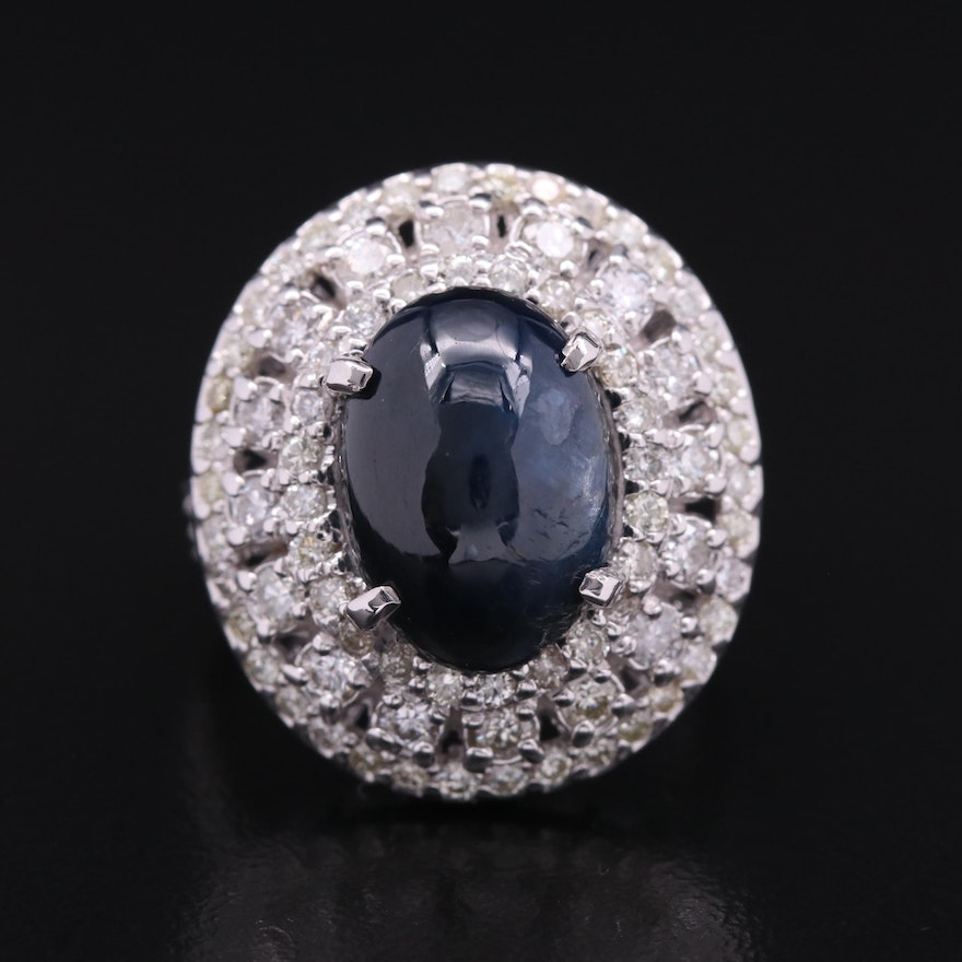 18K 6.32 CT Sapphire and 1.50 CTW Diamond Ring