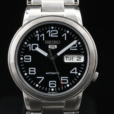 "Seiko ""5"" Automatic Day/Date Stainless Steel Wristwatch"