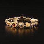 14K Gemstone Slide Charm Bracelet