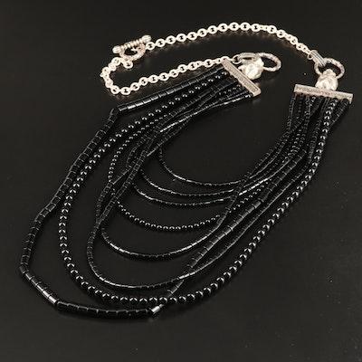 Sterling Multi Strand Black Onyx Feline Door Knocker Necklace