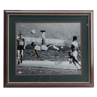 "Pelé Signed, Matted and Framed Famous Soccer ""Bicycle Kick"" Photo Print, PSA COA"