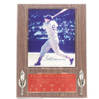 "Ted Williams Signed ""The Splendid Splinter"" Red Sox Photo Plaque, Visual COA"