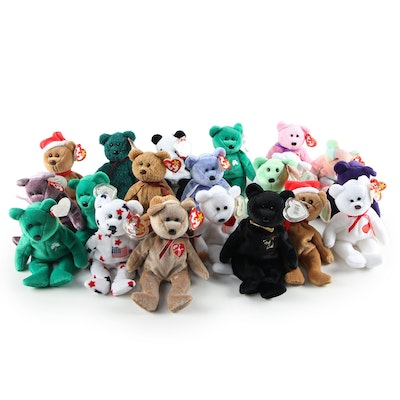 Curly and Princess Beanie Babies with Tag Misprints and Other Beanie Baby Bears