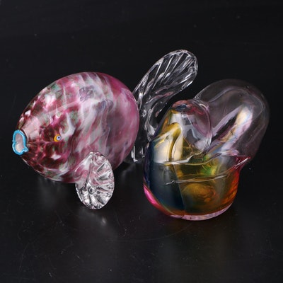 Art Glass Fish Sculpture and Signed Biomorphic Form