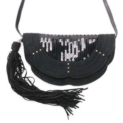Yves Saint Laurent Black Microfiber and Sequined Shoulder Bag with Fringe Tassel