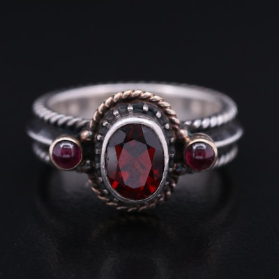 Réve Sterling Garnet Ring with 14K Accents