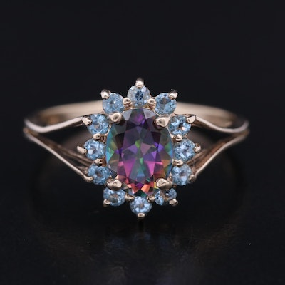10K Mystic Topaz Ring with Topaz Halo