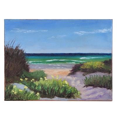 "James Baldoumas Landscape Oil Painting ""In the Dunes"", 2020"