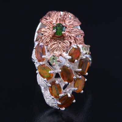 Sterling Opal, Diopside and Peridot Floral Ring
