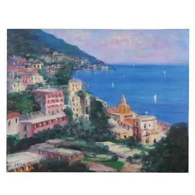 "Nino Pippa Oil Painting ""Italy - Positano"", 2007"