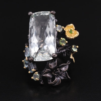 Sterling Silver Prasiolite, Topaz and Diopsid Ring with Floral Accents
