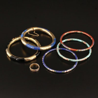 Bangles and Ring Including Cloisonne, Enamel, Lapis Lazuli and Sterling