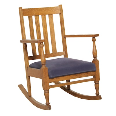 Arts & Crafts Mission Style Oak Rocking Chair, Early 20th Century