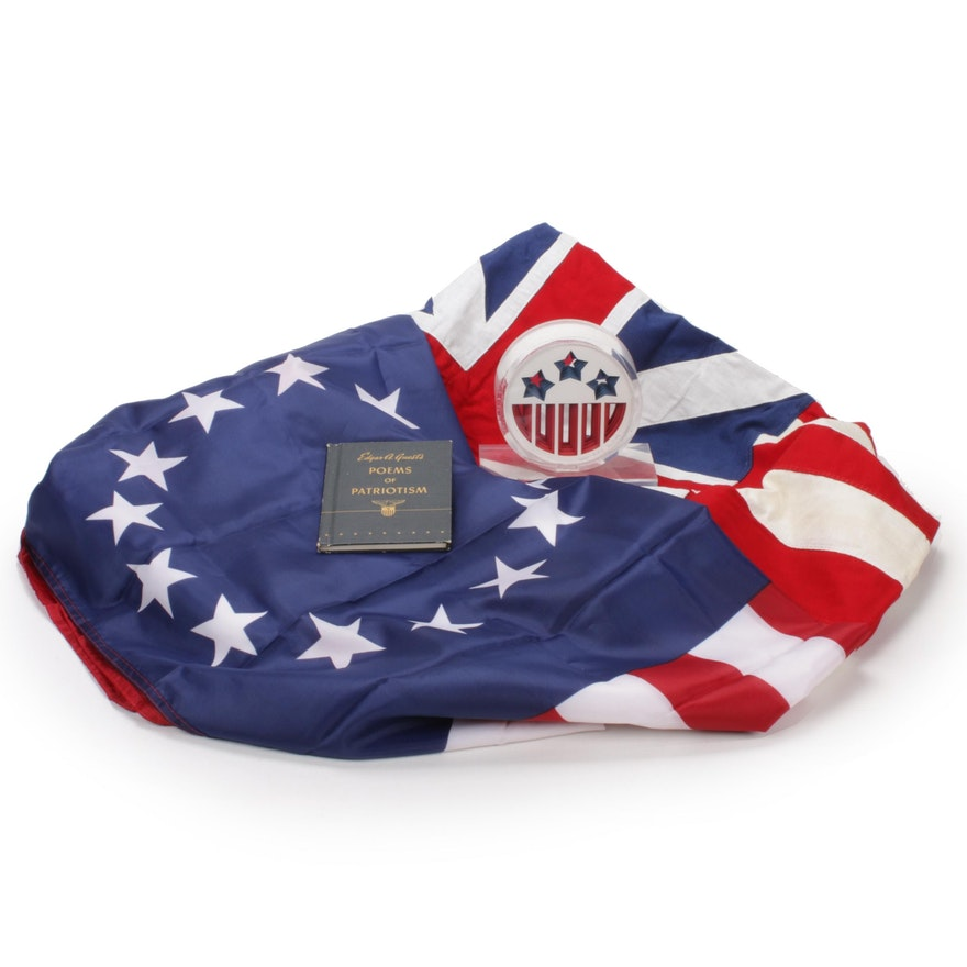 Betsy Ross, Grand Union Flags, Signed 3D Sculpture, and Book of Patriotic Poems