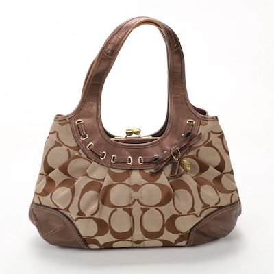 Coach Signature Shoulder Bag in Monogram Canvas and Metallic Leather