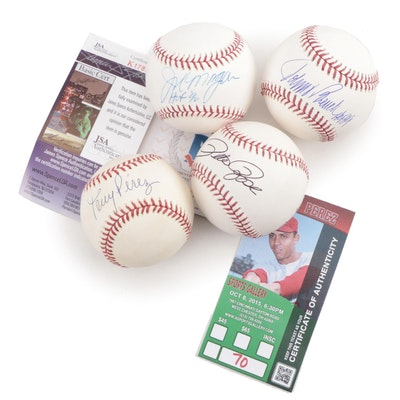 Bench, Rose, Morgan, and Perez Signed Rawlings Baseballs in Display Case, COAs