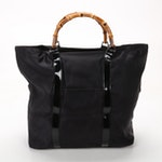 Gucci Bamboo Handle Tote in Black Nylon and Patent Leather