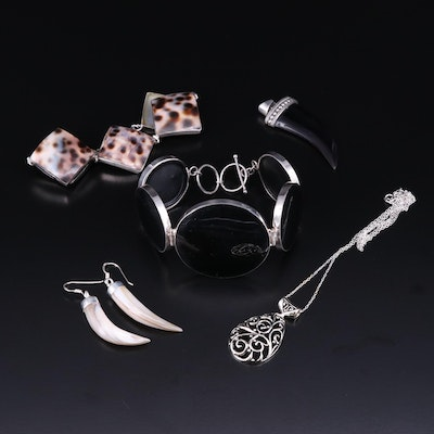 Sterling Silver Jewelry with Shell and Horn Designs