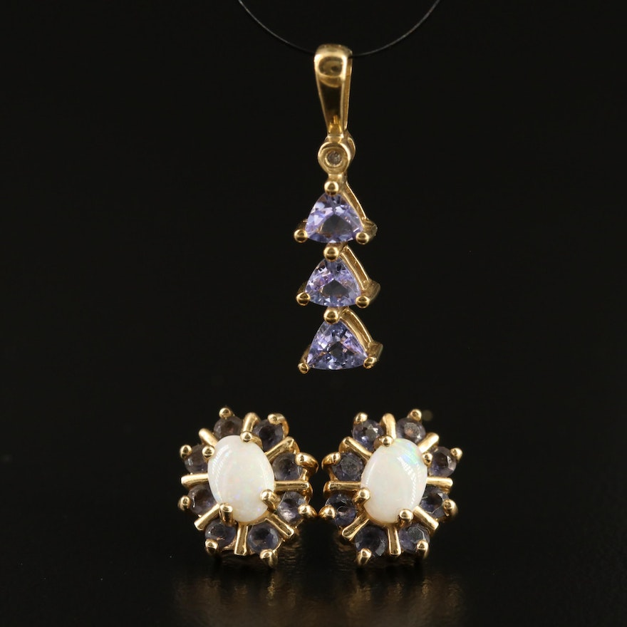 10K Opal and Iolite Earrings with Tanzanite and Diamond Pendant