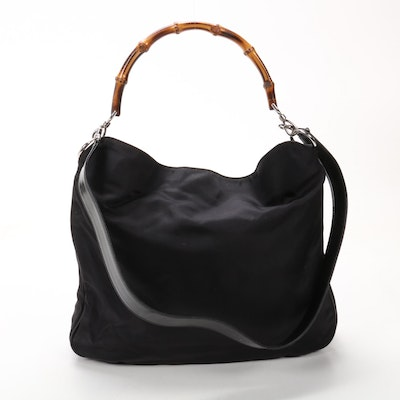 Gucci Bamboo Handle Shoulder Bag in Black Nylon and Leather