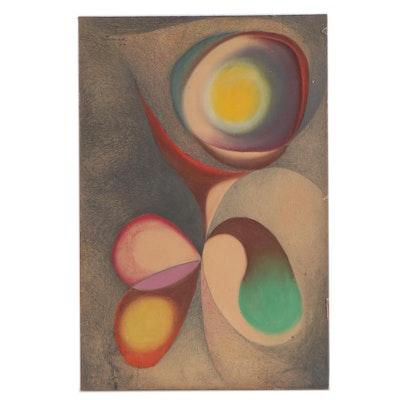 "James Gerard De Martini Abstract Pastel Drawing ""Bloom Burst"", 1964"