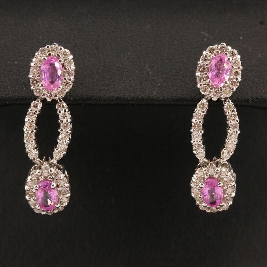 14K Pink Sapphire and 1.01 CTW Diamond Drop Earrings
