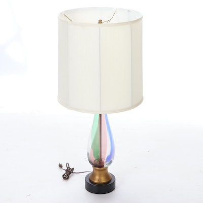 Mid Century Modern Colored Optic Twist Glass Table Lamp