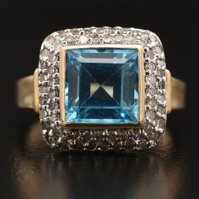 14K Swiss Blue Topaz Ring with Diamond Accents