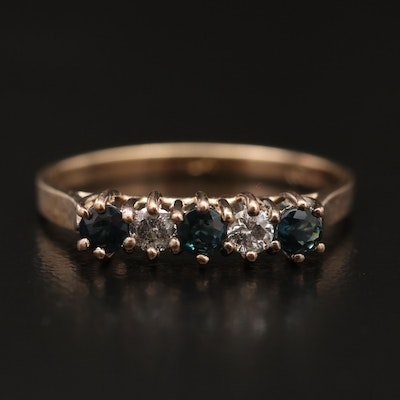 14K Sapphire and Diamond Band