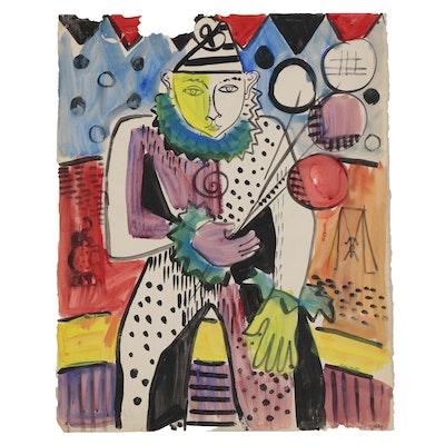 Helen Malta Modernist Acrylic Painting of Circus Performer, Mid 20th Century