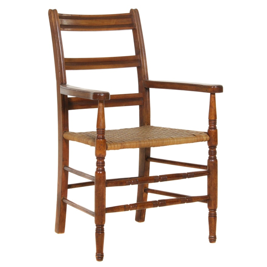 Oak Ladder Back Armchair with Woven Splint Seat, Early 20th Century
