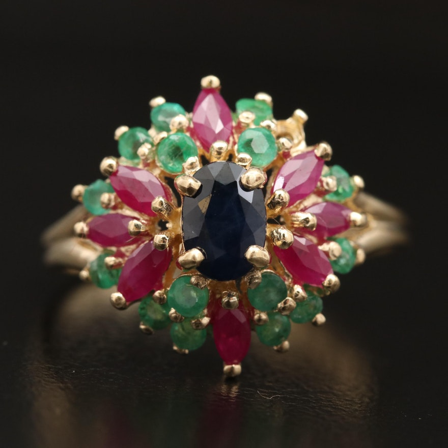 14K Sapphire, Emerald and Ruby Cluster Ring