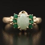 14K Jadeite and Emerald Ring