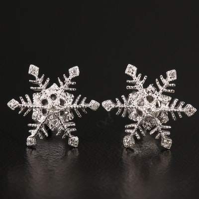 14K Diamond Snowflake Motif Earrings