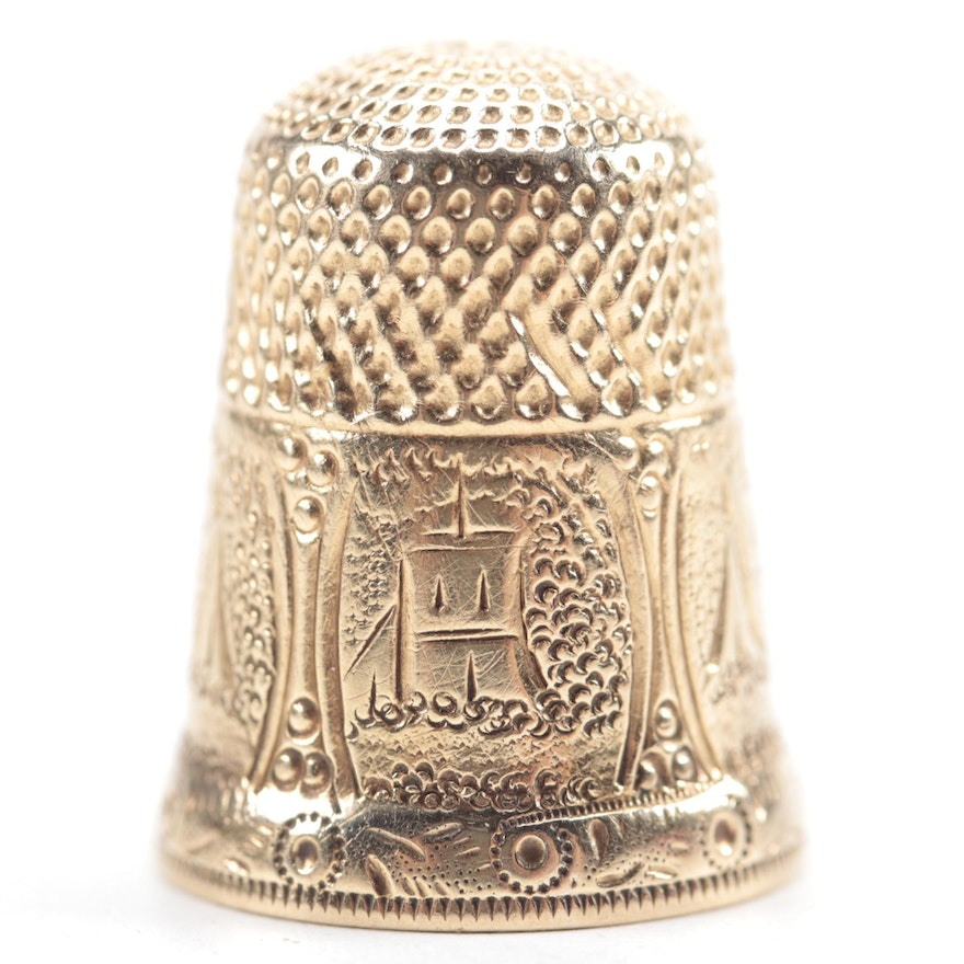 14K Gold Thimble with Etched Scene, 19th to Early 20th Century