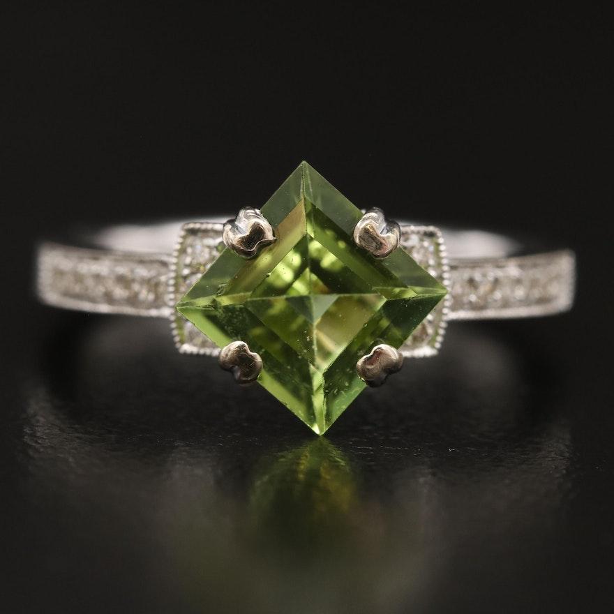 14K Peridot and Diamond Ring