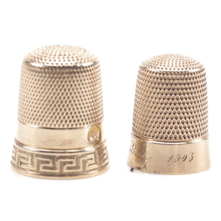 Simon Brothers 10K Thimbles, Late 19th/Early 20th Century
