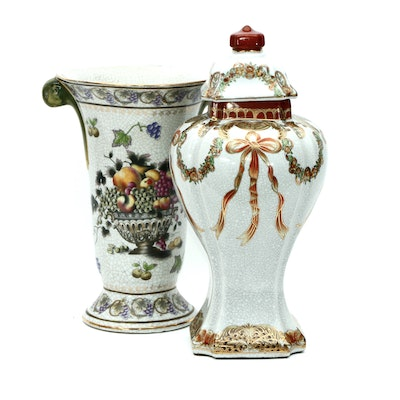 Toyo Hand-Painted Ceramic Vase and Urn