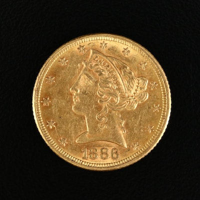 1886 Liberty Head $5 Gold Half Eagle