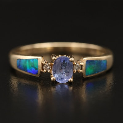 14K Tanzanite, Diamond and Opal Inlay Ring