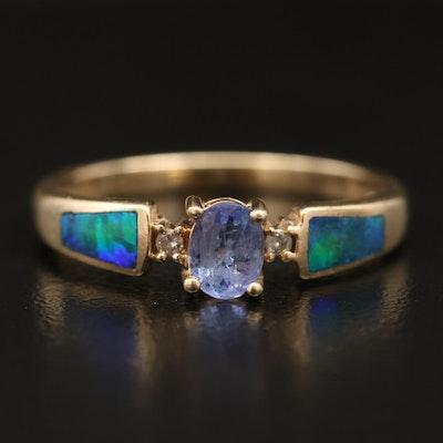 14K Tanzanite, Diamond and Opal Inlay Ring
