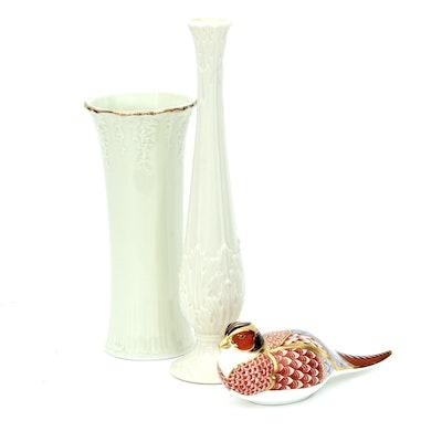 Royal Crown Derby Ceramic Pheasant and Porcelain Vases Including Lenox
