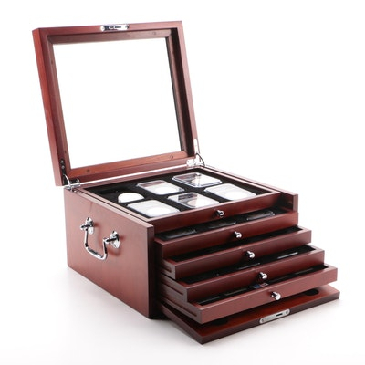 Eighteen Silver Peace Dollars in Mahogany Display Box