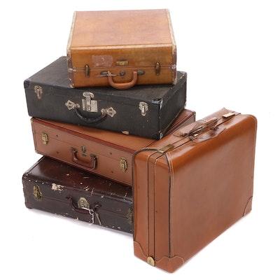 Samsonite, Platt, and Other Hard Shell Leather Suitcases, Vintage